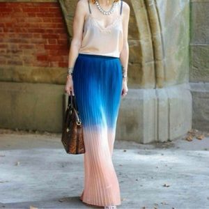 Cynthia Rowley Navy/Peach Ombré Pleated Maxi Skirt